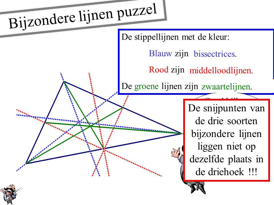 Zwaartelijnen Een zwaartelijn van een driehoek is een lijn die gaat door een hoekpunt en door het midden van de overstaande zijde. Als de vorm van de