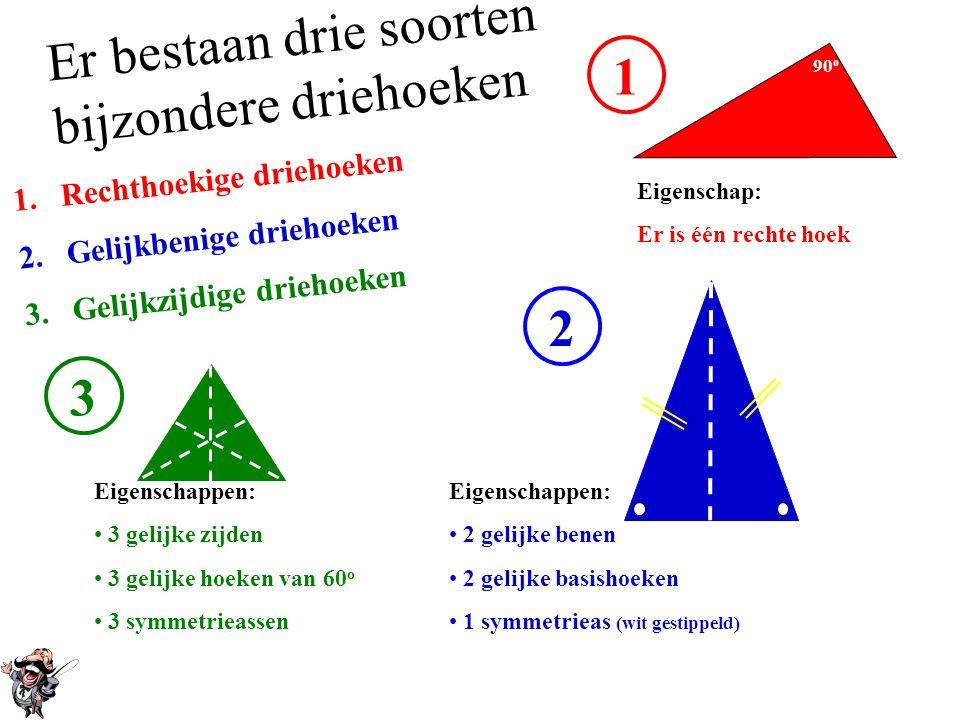 Er bestaan drie soorten bijzondere driehoeken 1.Rechthoekige driehoeken 2.Gelijkbenige driehoeken 3.Gelijkzijdige driehoeken 1 90 o Eigenschap: Er is één rechte hoek 2 Eigenschappen: • 2 gelijke benen • 2 gelijke basishoeken • 1 symmetrieas (wit gestippeld) 3 Eigenschappen: • 3 gelijke zijden • 3 gelijke hoeken van 60 o • 3 symmetrieassen