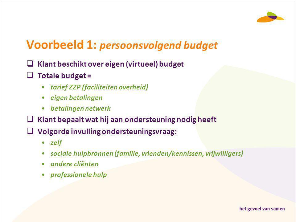 Voorbeeld 1: persoonsvolgend budget  Klant beschikt over eigen (virtueel) budget  Totale budget = •tarief ZZP (faciliteiten overheid) •eigen betalin