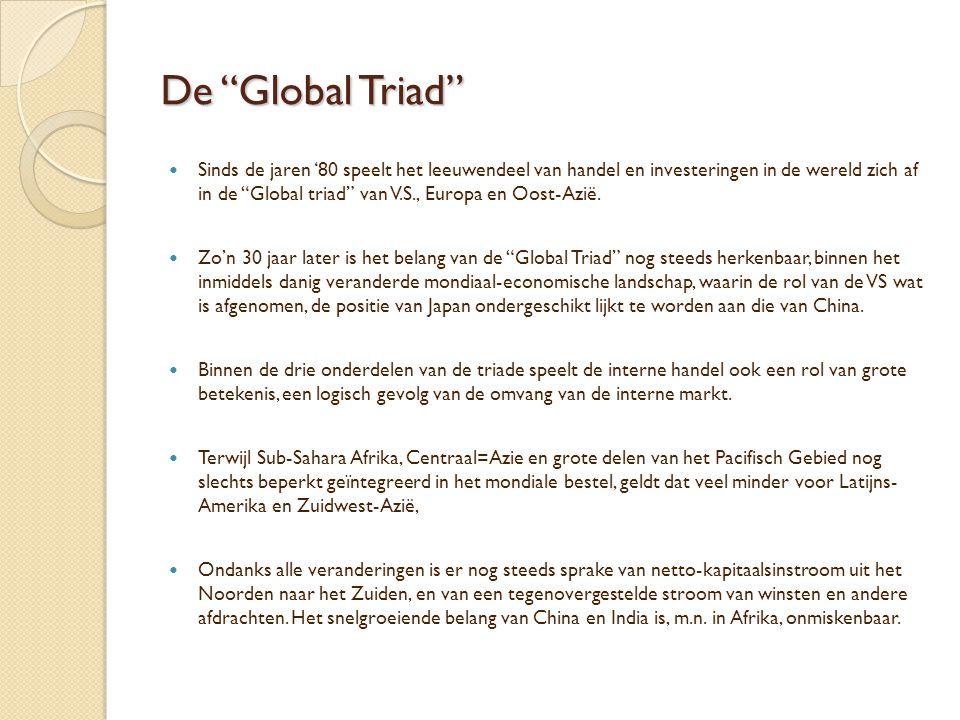 """De """"Global Triad""""  Sinds de jaren '80 speelt het leeuwendeel van handel en investeringen in de wereld zich af in de """"Global triad"""" van V.S., Europa e"""