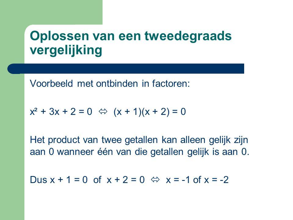Oplossen van een tweedegraads vergelijking Voorbeeld met ontbinden in factoren: x² + 3x + 2 = 0  (x + 1)(x + 2) = 0 Het product van twee getallen kan
