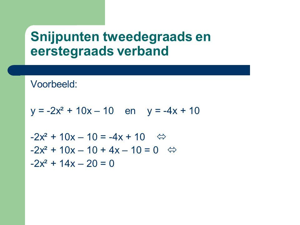 Snijpunten tweedegraads en eerstegraads verband Voorbeeld: y = -2x² + 10x – 10 en y = -4x + 10 -2x² + 10x – 10 = -4x + 10  -2x² + 10x – 10 + 4x – 10 = 0  -2x² + 14x – 20 = 0