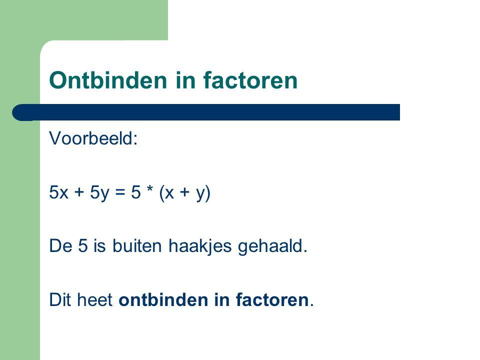 Ontbinden in factoren Voorbeeld: 5x + 5y = 5 * (x + y) De 5 is buiten haakjes gehaald. Dit heet ontbinden in factoren.