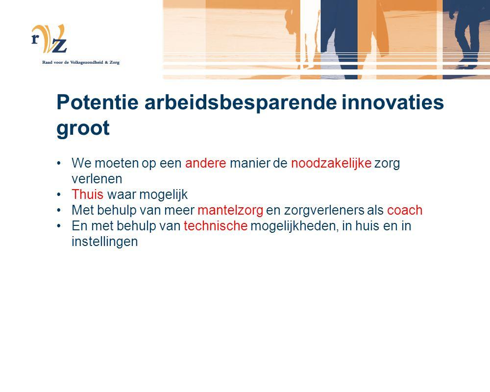 Potentie arbeidsbesparende innovaties groot •We moeten op een andere manier de noodzakelijke zorg verlenen •Thuis waar mogelijk •Met behulp van meer mantelzorg en zorgverleners als coach •En met behulp van technische mogelijkheden, in huis en in instellingen