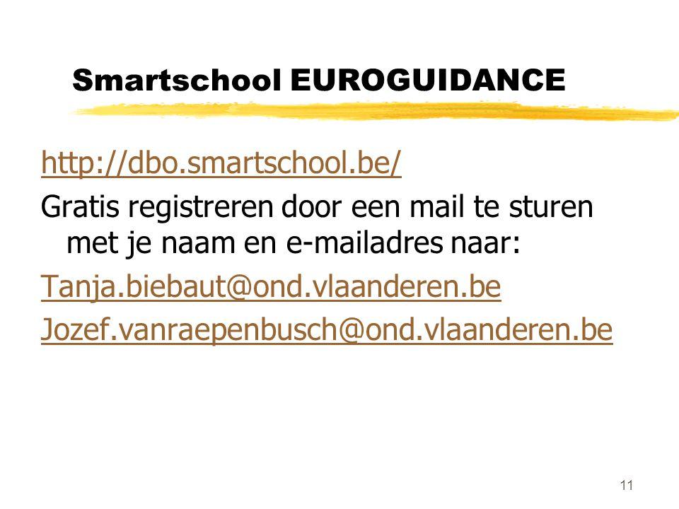 11 Smartschool EUROGUIDANCE http://dbo.smartschool.be/ Gratis registreren door een mail te sturen met je naam en e-mailadres naar: Tanja.biebaut@ond.vlaanderen.be Jozef.vanraepenbusch@ond.vlaanderen.be