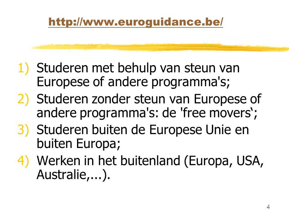 4 http://www.euroguidance.be/ 1)Studeren met behulp van steun van Europese of andere programma s; 2)Studeren zonder steun van Europese of andere programma s: de free movers'; 3)Studeren buiten de Europese Unie en buiten Europa; 4)Werken in het buitenland (Europa, USA, Australie,...).
