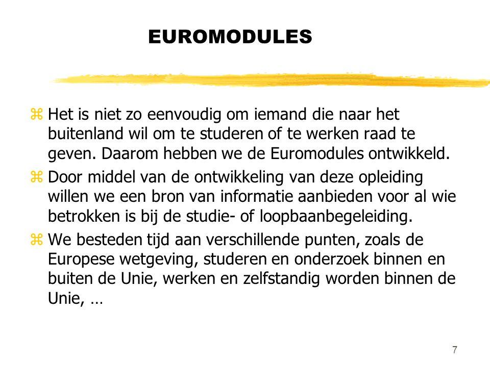 7 EUROMODULES zHet is niet zo eenvoudig om iemand die naar het buitenland wil om te studeren of te werken raad te geven.