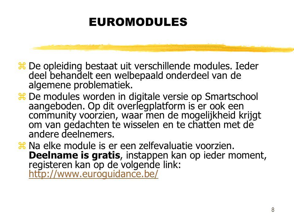 8 EUROMODULES zDe opleiding bestaat uit verschillende modules.
