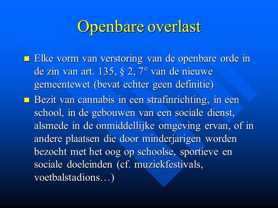 Openbare overlast  Elke vorm van verstoring van de openbare orde in de zin van art. 135, § 2, 7° van de nieuwe gemeentewet (bevat echter geen definit