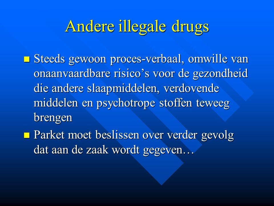 Andere illegale drugs  Steeds gewoon proces-verbaal, omwille van onaanvaardbare risico's voor de gezondheid die andere slaapmiddelen, verdovende midd