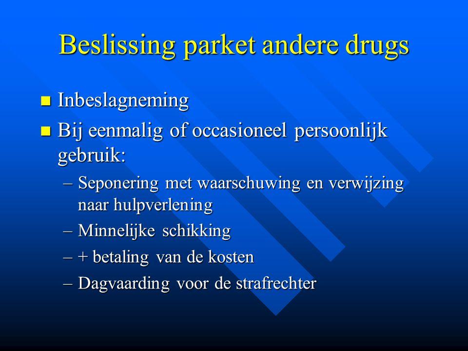Beslissing parket andere drugs  Inbeslagneming  Bij eenmalig of occasioneel persoonlijk gebruik: –Seponering met waarschuwing en verwijzing naar hul