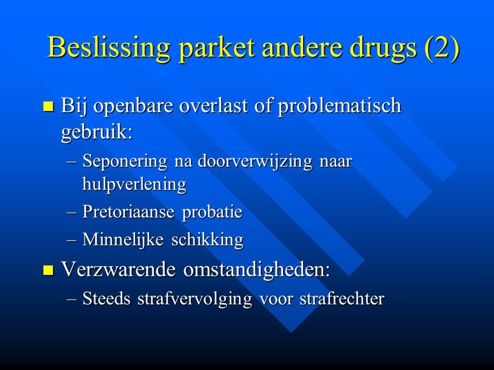 Beslissing parket andere drugs (2)  Bij openbare overlast of problematisch gebruik: –Seponering na doorverwijzing naar hulpverlening –Pretoriaanse pr