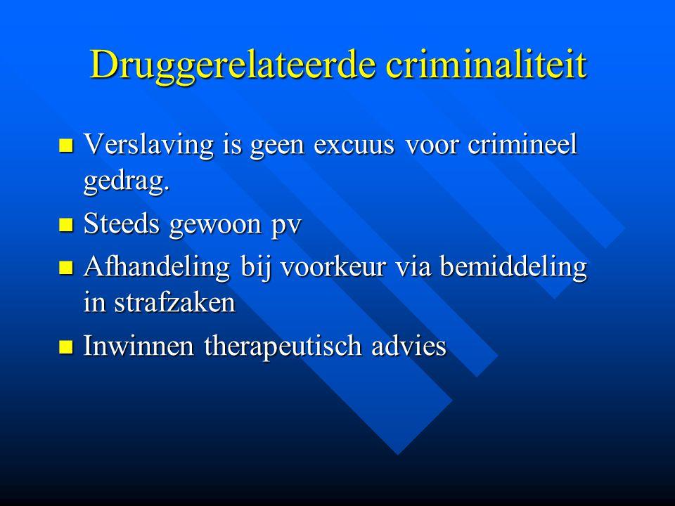Druggerelateerde criminaliteit  Verslaving is geen excuus voor crimineel gedrag.  Steeds gewoon pv  Afhandeling bij voorkeur via bemiddeling in str