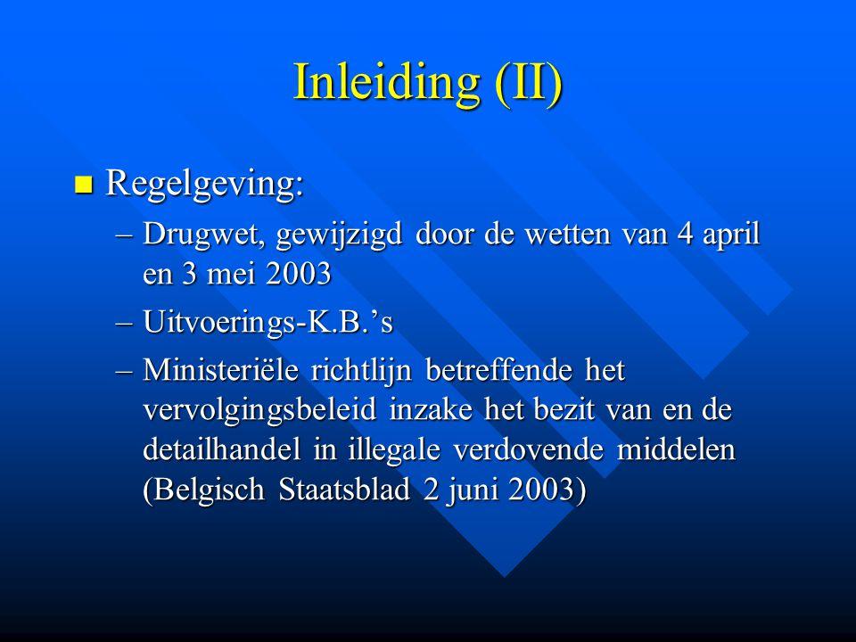 Inleiding (II)  Regelgeving: –Drugwet, gewijzigd door de wetten van 4 april en 3 mei 2003 –Uitvoerings-K.B.'s –Ministeriële richtlijn betreffende het
