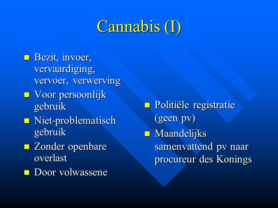 Cannabis (I)  Bezit, invoer, vervaardiging, vervoer, verwerving  Voor persoonlijk gebruik  Niet-problematisch gebruik  Zonder openbare overlast 