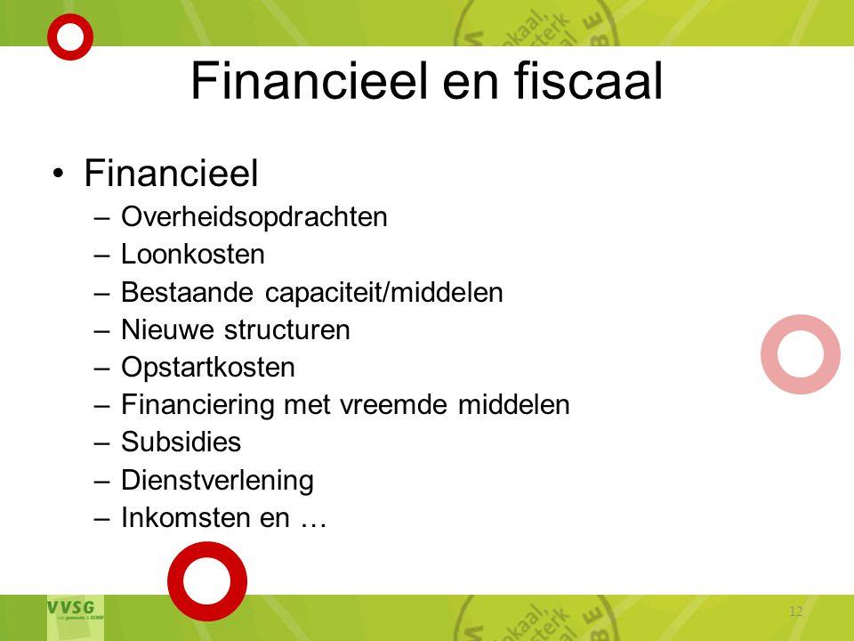 Financieel en fiscaal •Financieel –Overheidsopdrachten –Loonkosten –Bestaande capaciteit/middelen –Nieuwe structuren –Opstartkosten –Financiering met vreemde middelen –Subsidies –Dienstverlening –Inkomsten en … 12