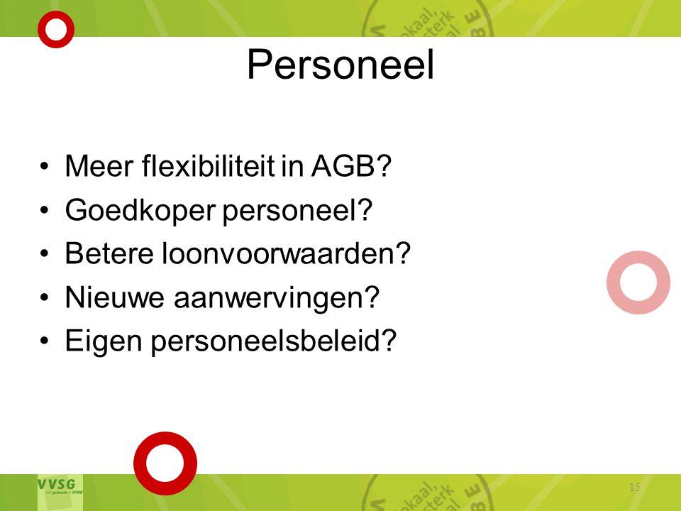 Personeel •Meer flexibiliteit in AGB.•Goedkoper personeel.