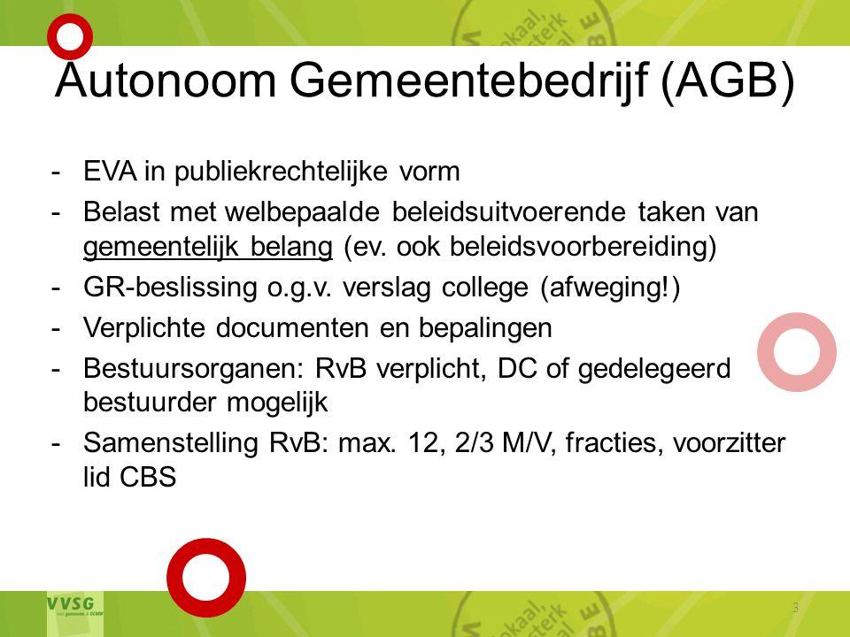 Autonoom Gemeentebedrijf (AGB) -EVA in publiekrechtelijke vorm -Belast met welbepaalde beleidsuitvoerende taken van gemeentelijk belang (ev.