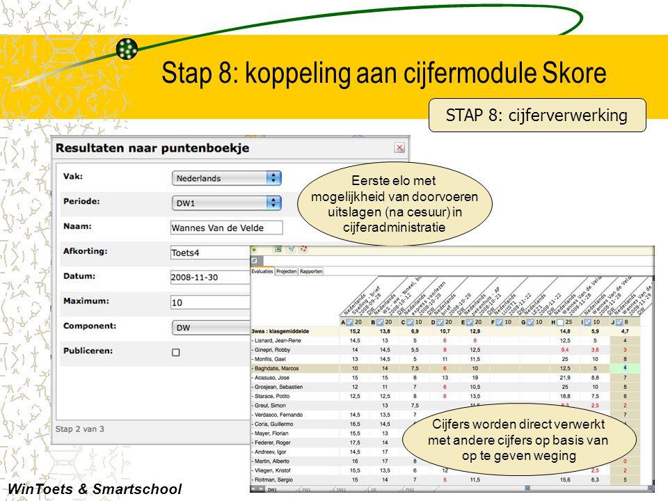 Stap 8: koppeling aan cijfermodule Skore WinToets & Smartschool STAP 8: cijferverwerking Eerste elo met mogelijkheid van doorvoeren uitslagen (na cesu