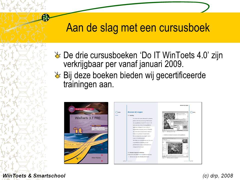Aan de slag met een cursusboek De drie cursusboeken 'Do IT WinToets 4.0' zijn verkrijgbaar per vanaf januari 2009. Bij deze boeken bieden wij gecertif