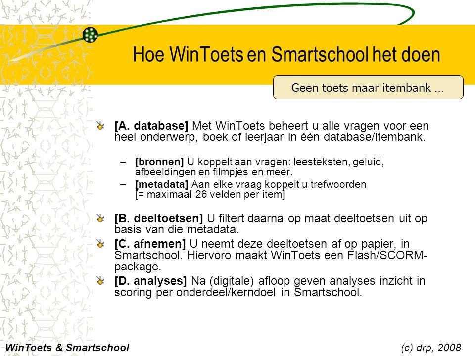 Hoe WinToets en Smartschool het doen [A. database] Met WinToets beheert u alle vragen voor een heel onderwerp, boek of leerjaar in één database/itemba