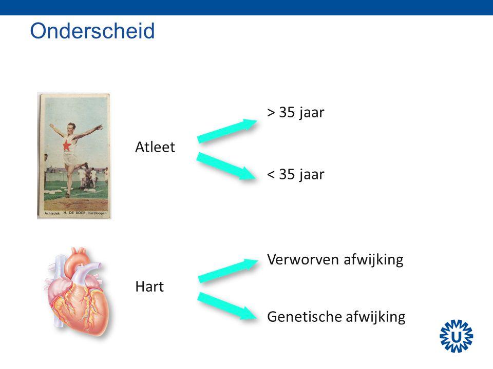 Onderscheid Atleet Hart > 35 jaar < 35 jaar Verworven afwijking Genetische afwijking