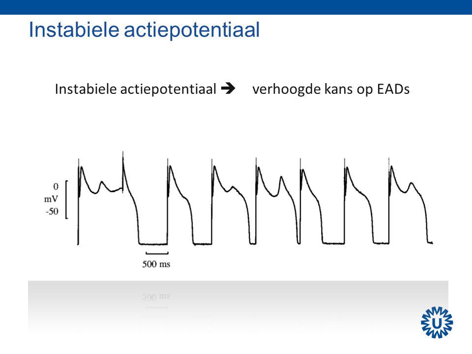 Instabiele actiepotentiaal Instabiele actiepotentiaal  verhoogde kans op EADs