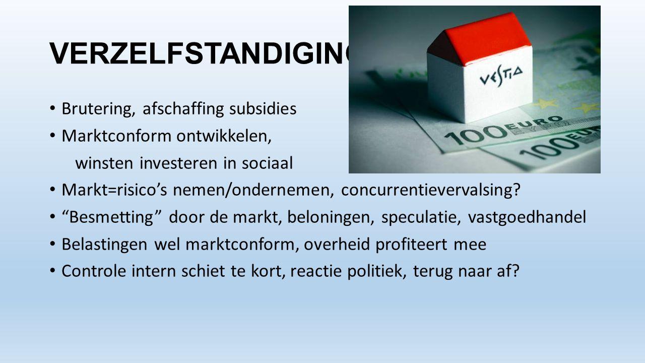 VERZELFSTANDIGING • Brutering, afschaffing subsidies • Marktconform ontwikkelen, winsten investeren in sociaal • Markt=risico's nemen/ondernemen, conc