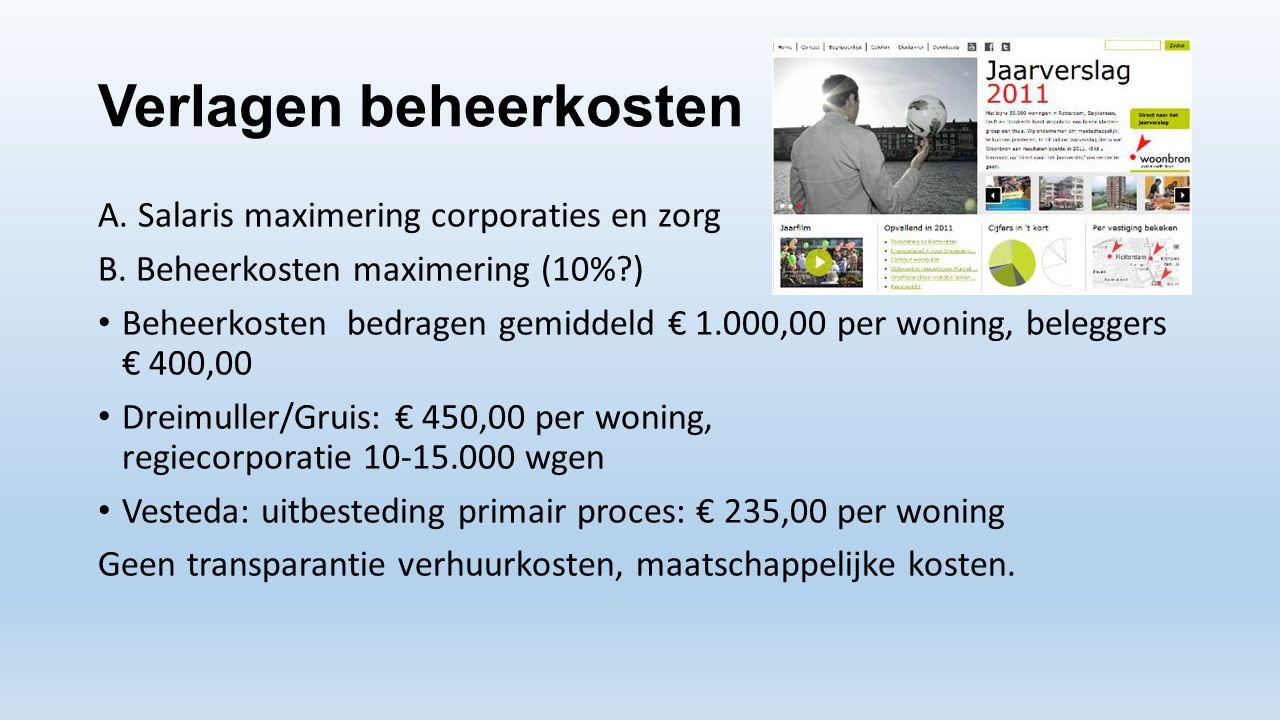 Verlagen beheerkosten A. Salaris maximering corporaties en zorg B. Beheerkosten maximering (10%?) • Beheerkosten bedragen gemiddeld € 1.000,00 per won