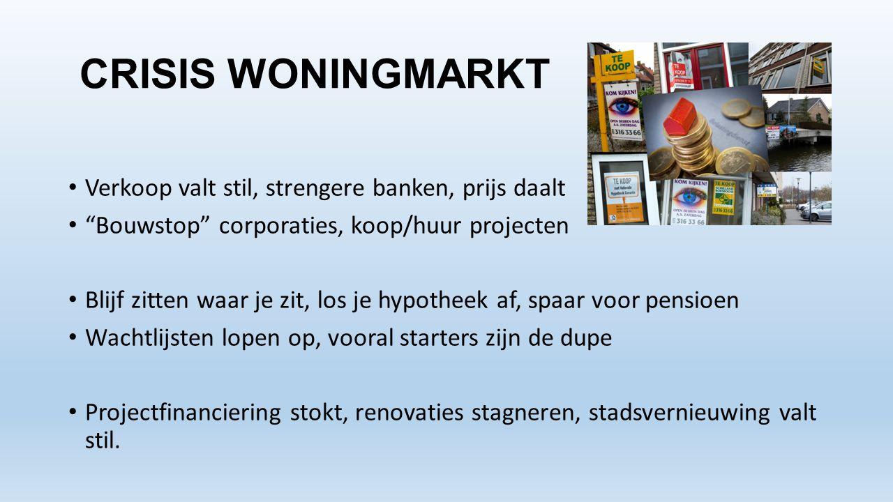 """CRISIS WONINGMARKT • Verkoop valt stil, strengere banken, prijs daalt • """"Bouwstop"""" corporaties, koop/huur projecten • Blijf zitten waar je zit, los je"""