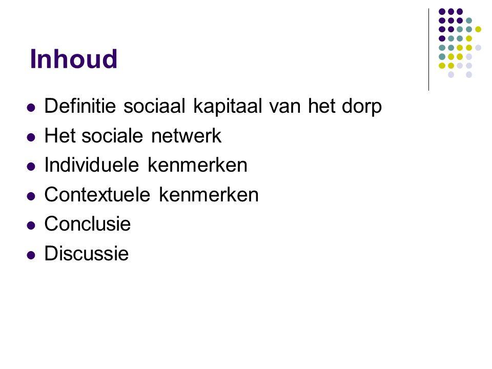 Inhoud  Definitie sociaal kapitaal van het dorp  Het sociale netwerk  Individuele kenmerken  Contextuele kenmerken  Conclusie  Discussie