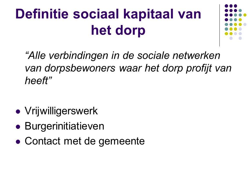 Onderzochte facetten van het sociale netwerk  Grootte van het sociale netwerk  Intensiteit van de sociale contacten  Aandeel van het sociale netwerk binnen het dorp  Contacten met de gemeente