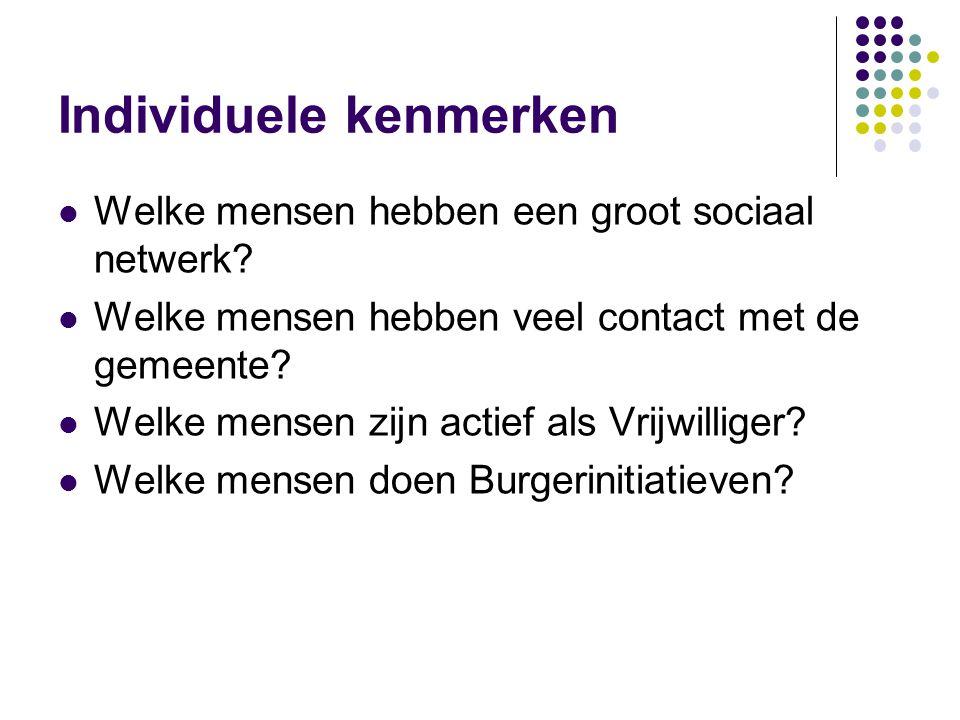 Individuele kenmerken  Welke mensen hebben een groot sociaal netwerk?  Welke mensen hebben veel contact met de gemeente?  Welke mensen zijn actief
