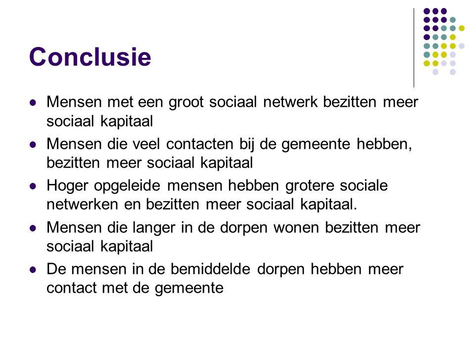 Conclusie  Mensen met een groot sociaal netwerk bezitten meer sociaal kapitaal  Mensen die veel contacten bij de gemeente hebben, bezitten meer soci
