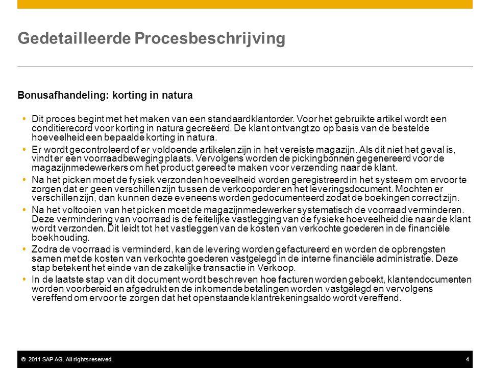 ©2011 SAP AG. All rights reserved.4 Gedetailleerde Procesbeschrijving Bonusafhandeling: korting in natura  Dit proces begint met het maken van een st