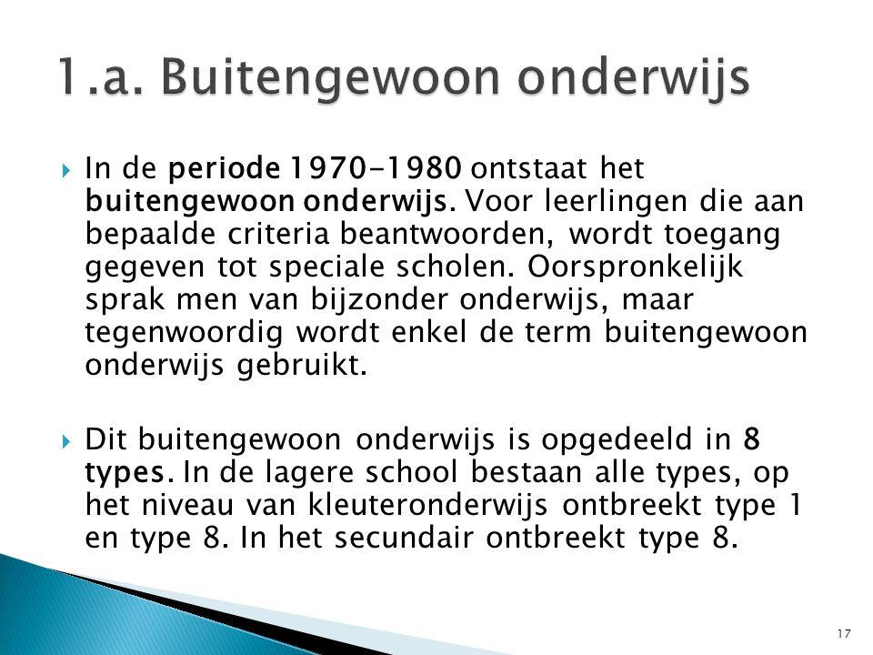  In de periode 1970-1980 ontstaat het buitengewoon onderwijs. Voor leerlingen die aan bepaalde criteria beantwoorden, wordt toegang gegeven tot speci