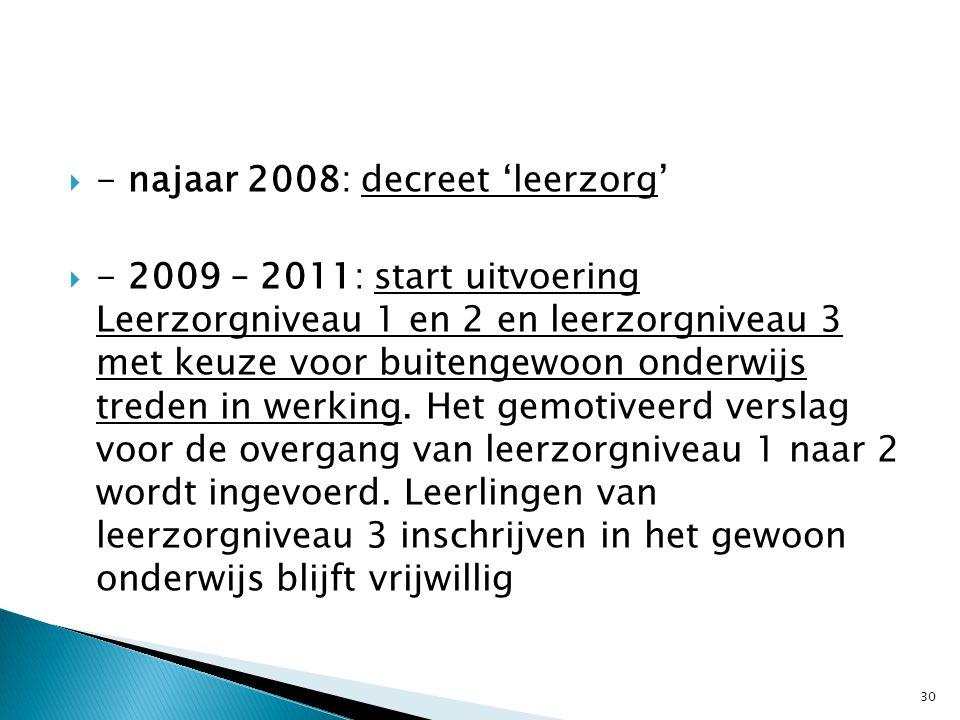  - najaar 2008: decreet 'leerzorg'  - 2009 – 2011: start uitvoering Leerzorgniveau 1 en 2 en leerzorgniveau 3 met keuze voor buitengewoon onderwijs