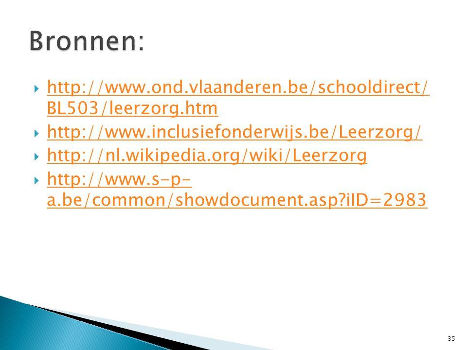  http://www.ond.vlaanderen.be/schooldirect/ BL503/leerzorg.htm http://www.ond.vlaanderen.be/schooldirect/ BL503/leerzorg.htm  http://www.inclusiefon