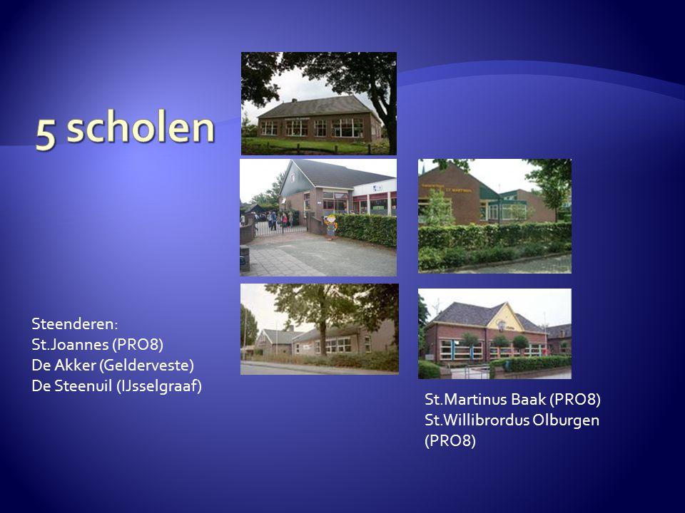 Steenderen: St.Joannes (PRO8) De Akker (Gelderveste) De Steenuil (IJsselgraaf) St.Martinus Baak (PRO8) St.Willibrordus Olburgen (PRO8)