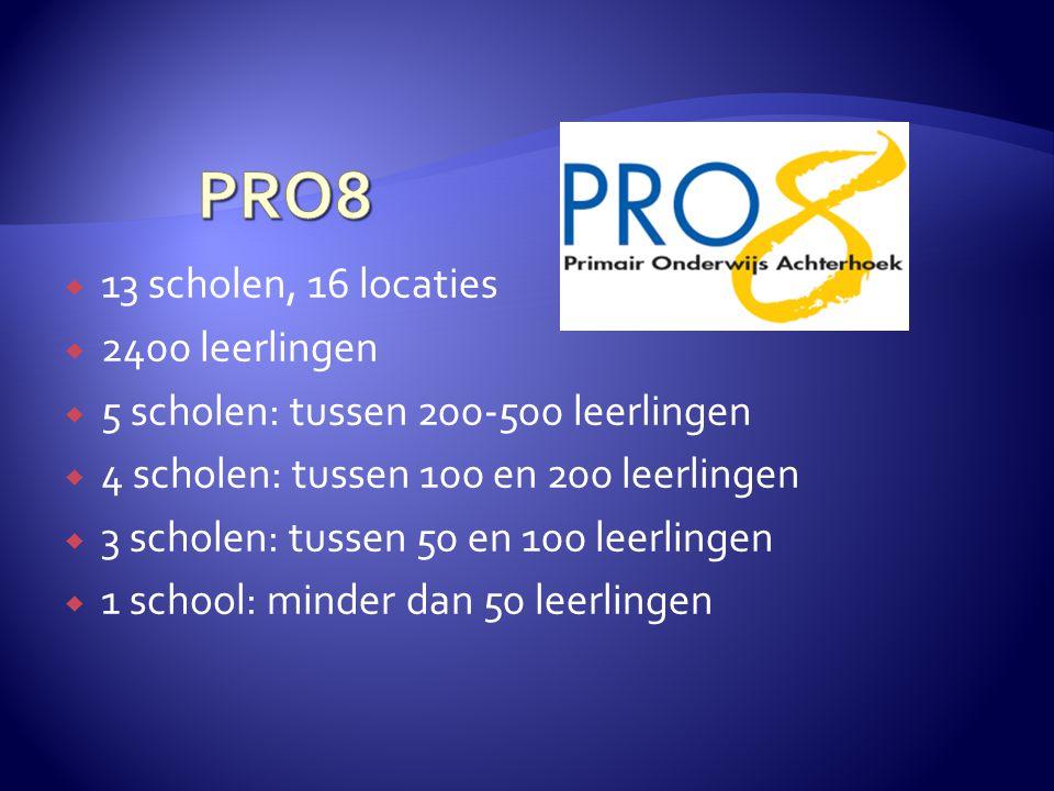  13 scholen, 16 locaties  2400 leerlingen  5 scholen: tussen 200-500 leerlingen  4 scholen: tussen 100 en 200 leerlingen  3 scholen: tussen 50 en