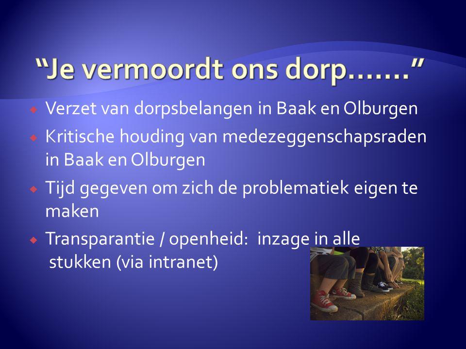  Verzet van dorpsbelangen in Baak en Olburgen  Kritische houding van medezeggenschapsraden in Baak en Olburgen  Tijd gegeven om zich de problematie