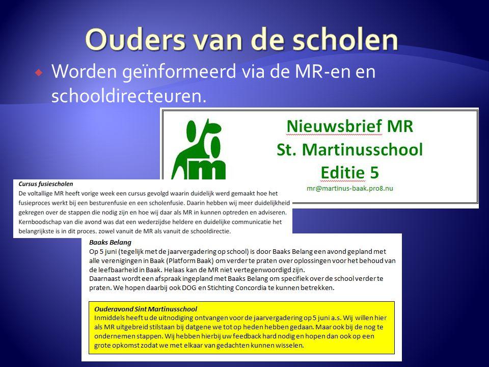  Worden geïnformeerd via de MR-en en schooldirecteuren.