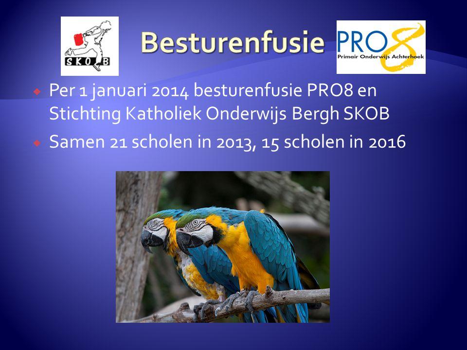  Per 1 januari 2014 besturenfusie PRO8 en Stichting Katholiek Onderwijs Bergh SKOB  Samen 21 scholen in 2013, 15 scholen in 2016