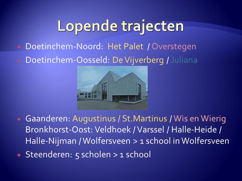  Doetinchem-Noord: Het Palet / Overstegen  Doetinchem-Oosseld: De Vijverberg / Juliana  Gaanderen: Augustinus / St.Martinus / Wis en Wierig Bronkho