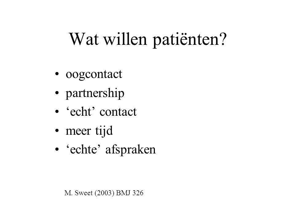 Wat willen patiënten.•oogcontact •partnership •'echt' contact •meer tijd •'echte' afspraken M.