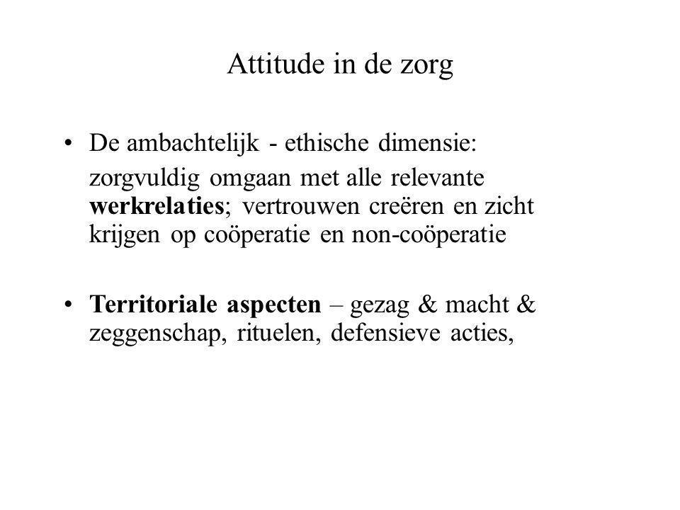Attitude in de zorg •De ambachtelijk - ethische dimensie: zorgvuldig omgaan met alle relevante werkrelaties; vertrouwen creëren en zicht krijgen op coöperatie en non-coöperatie •Territoriale aspecten – gezag & macht & zeggenschap, rituelen, defensieve acties,