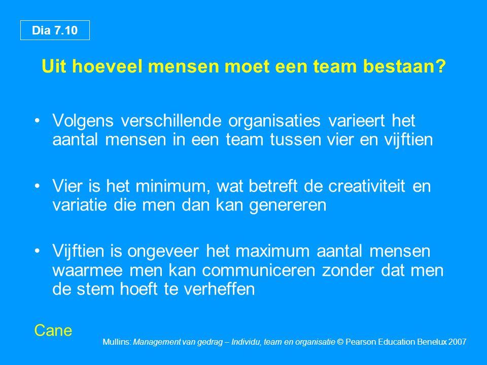 Dia 7.10 Mullins: Management van gedrag – Individu, team en organisatie © Pearson Education Benelux 2007 Uit hoeveel mensen moet een team bestaan? •Vo