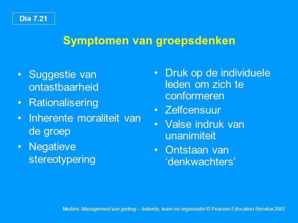 Dia 7.21 Mullins: Management van gedrag – Individu, team en organisatie © Pearson Education Benelux 2007 Symptomen van groepsdenken •Suggestie van ont