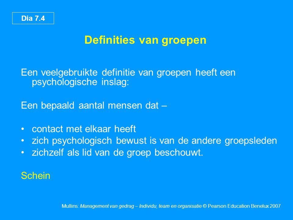 Dia 7.5 Mullins: Management van gedrag – Individu, team en organisatie © Pearson Education Benelux 2007 Kenmerken van groepen •Een definieerbaar lidmaatschap •Groepsbewustzijn •Een algemeen doel •Afhankelijkheid van elkaar •Interactie •Het vermogen om eendrachtig op te treden Mitchell