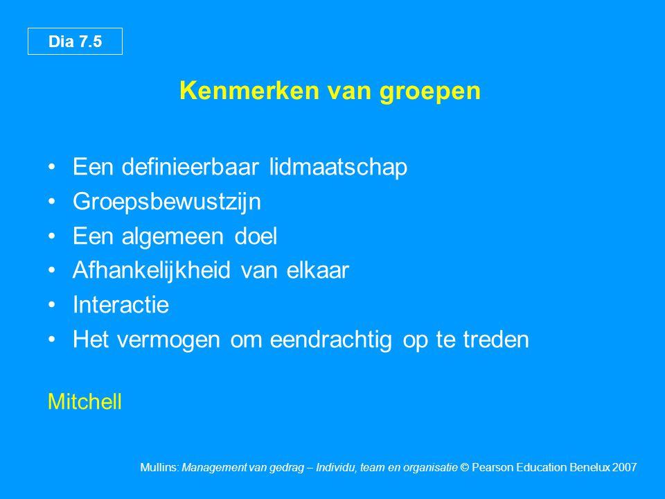 Dia 7.5 Mullins: Management van gedrag – Individu, team en organisatie © Pearson Education Benelux 2007 Kenmerken van groepen •Een definieerbaar lidma